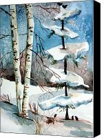 Winter Prints Drawings Canvas Prints - Christmas Twitters Canvas Print by Mindy Newman