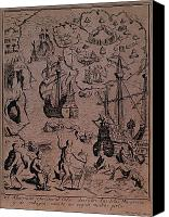 Maps Canvas Prints - Christopher Colombus discovering the islands of Margarita and Cubagua where they found many pearls Canvas Print by Spanish School