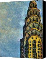 Landscapes Pastels Canvas Prints - Chrysler Building New York Canvas Print by Russ Harris