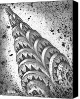 City Drawings Canvas Prints - Chrysler Spire Canvas Print by Adam Zebediah Joseph