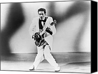 Chuck Berry Canvas Prints - Chuck Berry B. 1926 Playing Guitar Canvas Print by Everett
