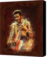 Chuck Berry Canvas Prints - Chuck Berry Canvas Print by Brian Tones