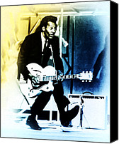 Chuck Berry Canvas Prints - Chuck Berry - Duck Walk Canvas Print by Maddi Koe