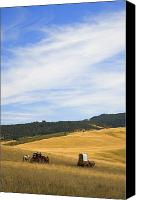 Pioneers Canvas Prints - Chuck Wagons Crossing The Prairies Canvas Print by Carson Ganci
