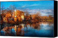 Autumn Scenes Canvas Prints - Church - Clinton NJ - Clinton United Methodist Church Canvas Print by Mike Savad