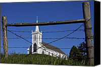 Fences Canvas Prints - Church And Barbed Wire Canvas Print by Garry Gay