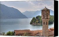 Lago Di Como Canvas Prints - church at the Lake Como Canvas Print by Joana Kruse