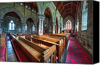 Benches Canvas Prints - Church Benches Canvas Print by Adrian Evans