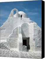 Stucco Canvas Prints - Church in Mykonos Canvas Print by Sandra Bronstein