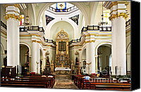 Basilica Canvas Prints - Church interior in Puerto Vallarta Canvas Print by Elena Elisseeva