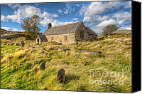 Graveyard Canvas Prints - Church of Celynnin Canvas Print by Adrian Evans