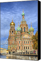Church On Spilled Blood Canvas Prints - Church of the Saviour on Spilled Blood. St. Petersburg. Russia Canvas Print by Cat Girl   Productions