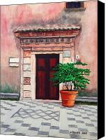 Taormina Canvas Prints - Church Side Door - Taormina Sicily Canvas Print by Mike Robles