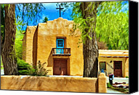 Taos Canvas Prints - Church with Blue Door Canvas Print by Jeff Kolker