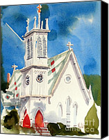 Bible Mixed Media Canvas Prints - Church with Jet Contrail Canvas Print by Kip DeVore