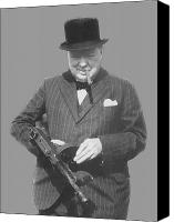 World War Two Canvas Prints - Churchill Posing With A Tommy Gun Canvas Print by War Is Hell Store
