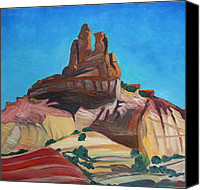 Abstract Realist Landscape Canvas Prints - Churck Rock Gallup New Mexico Canvas Print by Chris  Easley