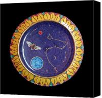 Music  Ceramics Canvas Prints - Cicada and the Dragon or the Universe in a sunflower. Canvas Print by Vladimir Shipelyov