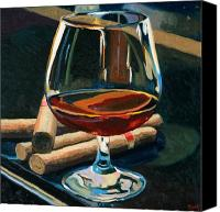 Oil On Canvas Canvas Prints - Cigars and Brandy Canvas Print by Christopher Mize