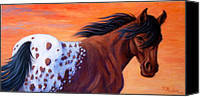 White Horse Painting Canvas Prints - Cimarron Sunset Appaloosa Canvas Print by Theresa Paden