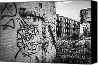 Old Houses Canvas Prints - Cincinnati Abandoned Buildings Graffiti Canvas Print by Paul Velgos