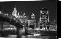 Photographs Canvas Prints - Cincinnati at Night Canvas Print by Russell Todd