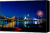 Fireworks Photo Canvas Prints - Cincinnati Boom Canvas Print by Keith Allen