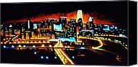 Skylines Painting Canvas Prints - Cincinnati by Black Light Canvas Print by Thomas Kolendra