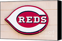Editorial Canvas Prints - Cincinnati Reds Logo Sign Canvas Print by Paul Velgos