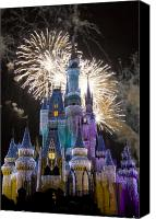 Fireworks Photo Canvas Prints - Cinderella Castle Spectacular Canvas Print by Charles  Ridgway