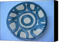Clay Ceramics Canvas Prints - Circle-Motif Blue Plate Canvas Print by Julia Van Dine