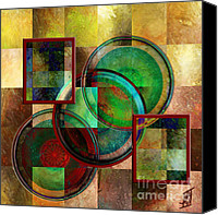 Rosy Hall Digital Art Canvas Prints - Circles and Squares triptych CENTRE Canvas Print by Rosy Hall
