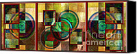 Rosy Hall Digital Art Canvas Prints - Circles and Squares Triptych COMPLETE Canvas Print by Rosy Hall