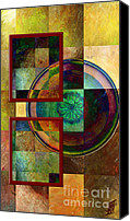 Rosy Hall Digital Art Canvas Prints - Circles and Squares triptych Left side Canvas Print by Rosy Hall