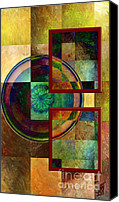 Rosy Hall Digital Art Canvas Prints - Circles and Squares triptych RIGHT Canvas Print by Rosy Hall