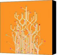 Abstraction Canvas Prints - Circuit Board Graphic Canvas Print by Setsiri Silapasuwanchai