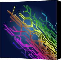 Illustration Photo Canvas Prints - Circuit Board Canvas Print by Setsiri Silapasuwanchai