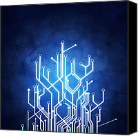 Concept Digital Art Canvas Prints - Circuit Board Technology Canvas Print by Setsiri Silapasuwanchai