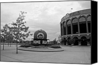 Ballpark Digital Art Canvas Prints - CITI FIELD in BLACK AND WHITE Canvas Print by Rob Hans