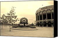 Baseball Parks Canvas Prints - CITI FIELD in SEPIA Canvas Print by Rob Hans