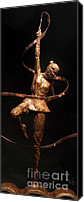 Game Sculpture Canvas Prints - Citius Altius Fortius Olympic Art Gymnast over Black Canvas Print by Adam Long
