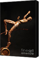 Copper Sculpture Canvas Prints - Citius Altius Fortius Olympic Art High Jumper on Black Canvas Print by Adam Long