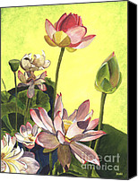 Blooms Painting Canvas Prints - Citron Lotus 1 Canvas Print by Debbie DeWitt