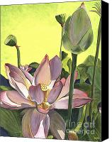 Bud Painting Canvas Prints - Citron Lotus 2 Canvas Print by Debbie DeWitt