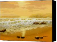 Beach Scenes Digital Art Canvas Prints - Citron Sunset Canvas Print by Sena Wilson