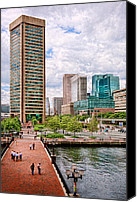 Architecture Photo Canvas Prints - City - Baltimore MD - Harbor Place - Baltimore World Trade Center  Canvas Print by Mike Savad