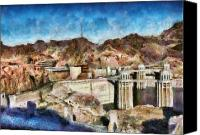 Dam Canvas Prints - City - Nevada - Hoover Dam Canvas Print by Mike Savad