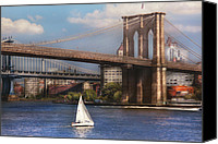 South Street Seaport Canvas Prints - City - NY - Sailing under the Brooklyn Bridge Canvas Print by Mike Savad