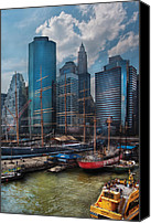 South Street Seaport Canvas Prints - City - NY - The New City Canvas Print by Mike Savad