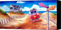 Kombi Canvas Prints - City 2 Surf Canvas Print by Deb Broughton